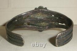 Vintage Navajo Old Pawn Sterling Silver turquoise bracelet Fred Harvey era