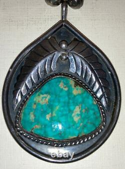 Vintage Navajo Old Pawn Turquoise Sterling Silver Beads Necklace Fred Harvey Era