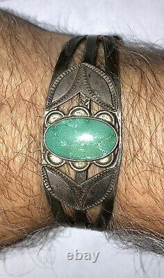Vintage Navajo Old Pawn sterling silver Turquoise Fred Harvey Era Bracelet