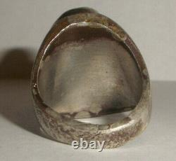 Vintage Navajo Old Pawn sterling silver turquoise men`s ring 8.5 Fred Harvey era
