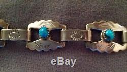 Vintage Navajo Silver, Turqouise Link Bracelet, Fred Harvey
