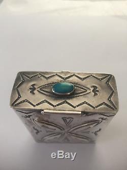 Vintage Navajo Sterling Silver Native American Cigarette Case Box Fred Harvey