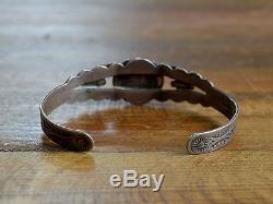 Vintage Navajo Turquoise Fred Harvey Era Sterling Silver Cuff Bracelet