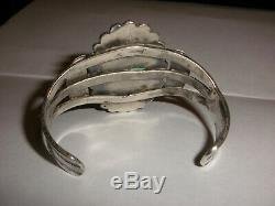 Vintage Navajo old pawn Sterling Silver jasper bracelet Fred Harvey era