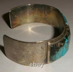 Vintage Navajo old pawn turquoise sterling silver bracelet Fred Harvey era
