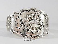 Vintage Old Navajo Fred Harvey Era Sterling Silver Hand Stamped Cuff Bracelet
