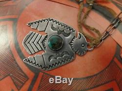 Vintage Old Pawn Fred Harvey Era Silver + Turquoise Thunderbird Necklace