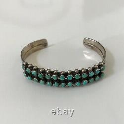 Vintage Old Pawn Fred Harvey Era Two-Rows Turquoise Sterling Silver Cuff Bracele