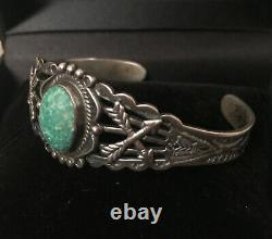 Vintage Old Pawn Navajo Turquoise Sterling Silver Cuff Bracelet Fred Harvey Era