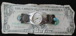 Vintage Old Pawn Silver and Turquoise Watch Cuff STERLING Fred Harvey TB139
