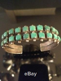 Vintage Old Pawn Turquoise & Sterling Silver Cuff Fred Harvey Era Signed JWMS