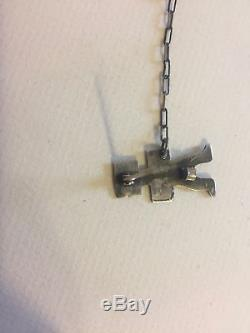 Vintage Pin Brooch Silver Fred Harvey Era 2 pc. Kachina Arrows walking Dog Horse