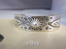 Vintage Rare Fred Harvey Era Navajo Sterling Silver Whirling Logs Cuff Bracelet