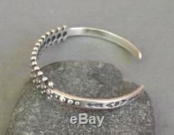 Vintage Southwestern Fred Harvey Era Silver Stamped Beaded Cuff Bracelet
