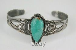 Vintage Southwestern Fred Harvey Era Sterling Silver Turquoise Cuff Bracelet