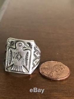 Vintage Sterling Silver 925 Thunderbird Fred Harvey Ring Size 10 8 Grams Mens