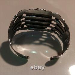 Vintage Sterling Silver Arrow Cuff Bracelet Petrified Wood Fred Harvey 38 g