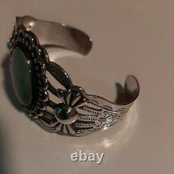 Vintage Sterling Silver Arrow Cuff Bracelet w Turquoise Fred Harvey 32 grams