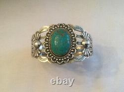 Vintage Sterling Silver Arrow Cuff Bracelet with Turquoise Fred Harvey Era