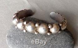 Vintage Sterling Silver Fred Harvey Era Beaded Domes Cuff Bracelet