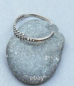 Vintage Sterling Silver Fred Harvey Era Beaded Stamped Cuff Bracelet