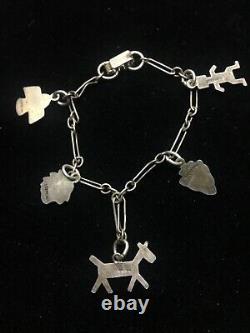 Vintage Sterling Silver Fred Harvey Era Charm Bracelet