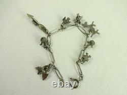 Vintage Sterling Silver Fred Harvey Era Charm Bracelet Dog Arrow Thunder Bird