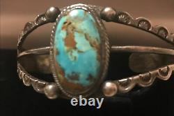 Vintage Sterling Silver Fred Harvey Era Navajo Stamped Turquoise Cuff Bracelet