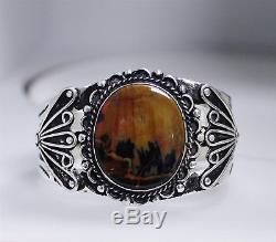 Vintage Sterling Silver Fred Harvey Era Petrified Wood Navajo Cuff Bracelet