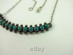 Vintage Sterling Silver Fred Harvey Era Snake Eye Turquoise Necklace RARE 19