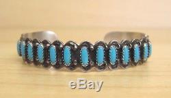 Vintage Sterling Silver Fred Harvey / Zuni Style Turquoise Cuff Bracelet