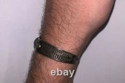 Vintage Sterling Silver & Turquoise Fred Harvey Era Stamped Cuff Bracelet