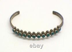 Vintage Sterling Silver/Turquoise Native American Fred Harvey Era Cuff Bracelet