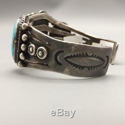 Vintage Turquoise, Hefty, Sterling Silver Bracelet From The Fred Harvey Era