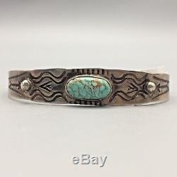 Vintage Turquoise, Sterling Silver Cuff Bracelet Fred Harvey Era