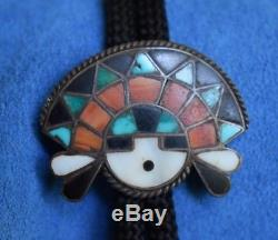 Vintage ZUNI Fred Harvey Era Sterling Silver INLAY Turquoise SUN GOD Bolo Tie