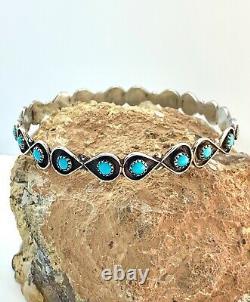 Vintage Zuni Fred Harvey Sterling Silver Turquoise Petit Point Bangle Bracelet