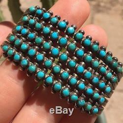 Vintage Zuni Fred Harvey Sterling Silver Turquoise Snake Eye 5 Row Cuff Bracelet