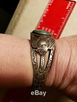 Vintage small Silver Turquoise Cuff Thunderbird Fred Harvey Era Bracelet