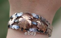 Vintage sterling silver 18k gold Peru Fred Harvey cuff bracelet llama warrior