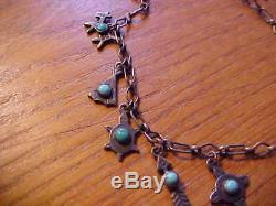 Vtg. 1940's sterling silver turquoise Fred Harvey Era Navajo charm bracelet rare