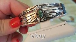 Vtg. 925 Sterling & Turquoise Thunderbird Bracelet cuff OLD PAWN era Fred Harvey