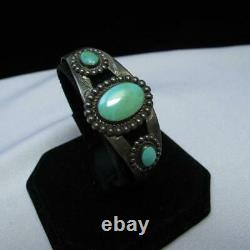Vtg Bell Sterling Silver Turquoise Fred Harvey Era Cuff Bracelet 21g AS IS #J920