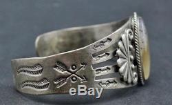 Vtg FRED HARVEY ERA NAVAJO Sterling Silver Cuff Bracelet Montana Dendritic Agate