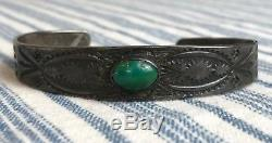 Vtg FRED HARVEY Silver NAVAJO Turquoise Stamped Bracelet cuff WHIRLING LOG