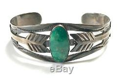 Vtg FRED HARVEY Sterling Silver & Turquoise NAVAJO Bracelet cuff ARROW Old Pawn
