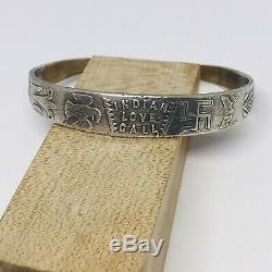 Vtg Fred Harvey Era Coin Silver Fine Bracelet Indian Love Call Rolling Logs