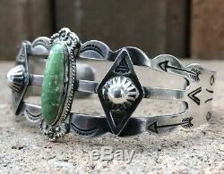 Vtg Fred Harvey Era Desert Gem Green Turquoise Sterling Silver Cuff Bracelet