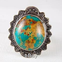 Vtg Fred Harvey Era Green Royston Spiderweb Turquoise Sterling Silver Ring 8 3/4
