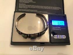 Vtg Fred Harvey Era Green Turquoise Sterling Silver Cuff Bracelet